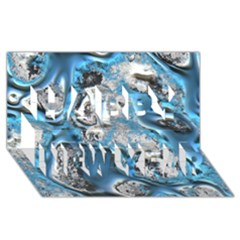 Metal Art 11, Blue Happy New Year 3D Greeting Card (8x4)