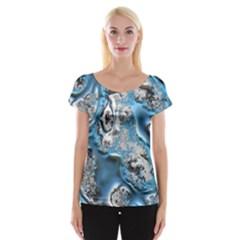 Metal Art 11, Blue Women s Cap Sleeve Top