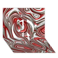Metal Art 9 Red Peace Sign 3D Greeting Card (7x5)