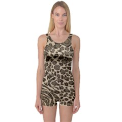 Brown Cheetah Abstract  Women s Boyleg One Piece Swimsuits