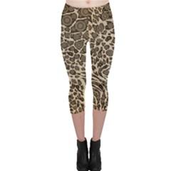 Brown Cheetah Abstract  Capri Leggings