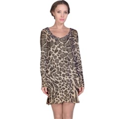 Brown Cheetah Abstract  Long Sleeve Nightdresses