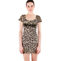 Brown Cheetah Abstract  Short Sleeve Bodycon Dresses