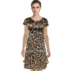 Brown Cheetah Abstract  Cap Sleeve Nightdresses