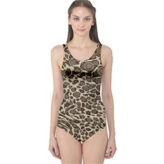 Brown Cheetah Abstract  Women s One Piece Swimsuits