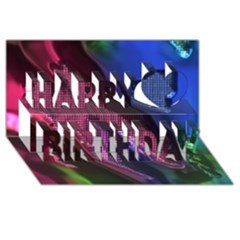 Colorful Broken Metal Happy Birthday 3d Greeting Card (8x4)