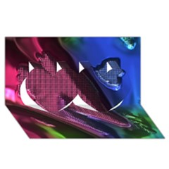 Colorful Broken Metal Twin Hearts 3d Greeting Card (8x4)