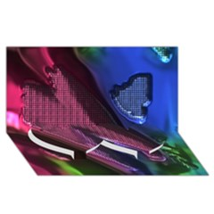 Colorful Broken Metal Twin Heart Bottom 3d Greeting Card (8x4)