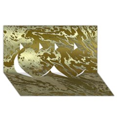 Metal Art Swirl Golden Twin Hearts 3d Greeting Card (8x4)