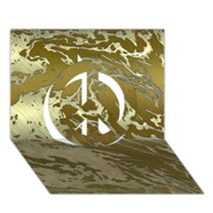Metal Art Swirl Golden Peace Sign 3d Greeting Card (7x5)
