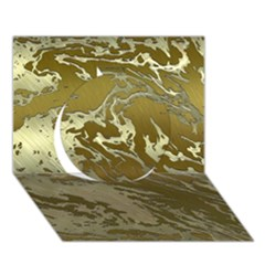 Metal Art Swirl Golden Circle 3D Greeting Card (7x5)