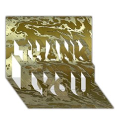 Metal Art Swirl Golden Thank You 3d Greeting Card (7x5)