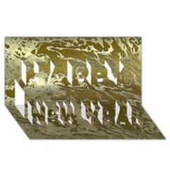 Metal Art Swirl Golden Happy New Year 3d Greeting Card (8x4)