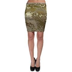 Metal Art Swirl Golden Bodycon Skirts