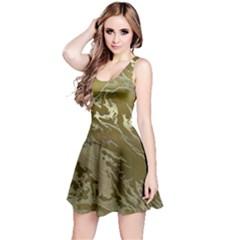 Metal Art Swirl Golden Reversible Sleeveless Dresses