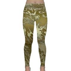 Metal Art Swirl Golden Yoga Leggings