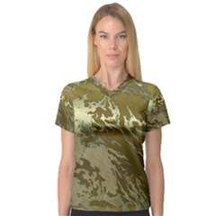 Metal Art Swirl Golden Women s V-Neck Sport Mesh Tee