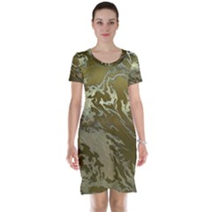 Metal Art Swirl Golden Short Sleeve Nightdresses