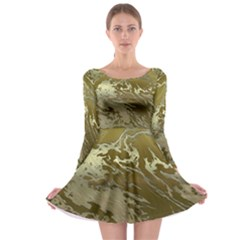 Metal Art Swirl Golden Long Sleeve Skater Dress