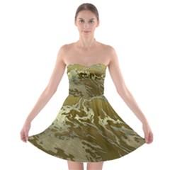 Metal Art Swirl Golden Strapless Bra Top Dress