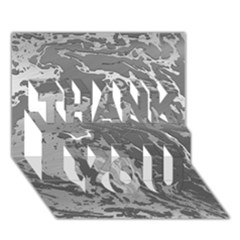 Metal Art Swirl Silver Thank You 3d Greeting Card (7x5)