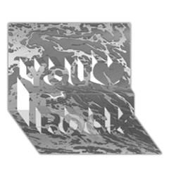 Metal Art Swirl Silver You Rock 3d Greeting Card (7x5)