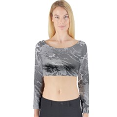 Metal Art Swirl Silver Long Sleeve Crop Top