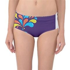 Colorful Happy Whale Mid-Waist Bikini Bottoms