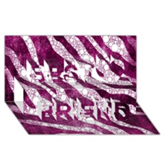 Purple Zebra Print Bling Pattern  Best Friends 3D Greeting Card (8x4)