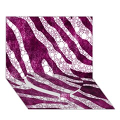 Purple Zebra Print Bling Pattern  Heart Bottom 3D Greeting Card (7x5)