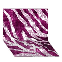 Purple Zebra Print Bling Pattern  Love Bottom 3d Greeting Card (7x5)