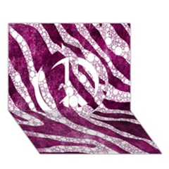 Purple Zebra Print Bling Pattern  Peace Sign 3d Greeting Card (7x5)