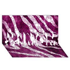 Purple Zebra Print Bling Pattern  #1 MOM 3D Greeting Cards (8x4)