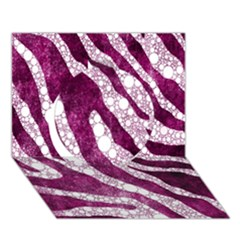 Purple Zebra Print Bling Pattern  Circle 3D Greeting Card (7x5)