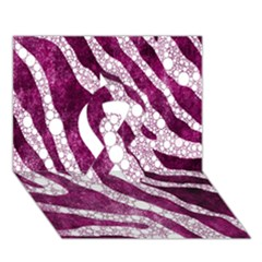 Purple Zebra Print Bling Pattern  Ribbon 3d Greeting Card (7x5)