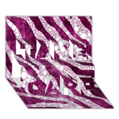 Purple Zebra Print Bling Pattern  Take Care 3d Greeting Card (7x5)