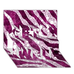 Purple Zebra Print Bling Pattern  Get Well 3D Greeting Card (7x5)