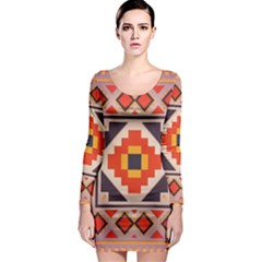 Rustic abstract design Long Sleeve Bodycon Dress