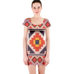 Rustic Abstract Design Short Sleeve Bodycon Dress