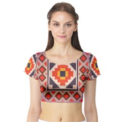 Rustic abstract design Short Sleeve Crop Top