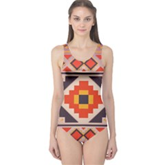 Rustic abstract design Women s One Piece Swimsuit