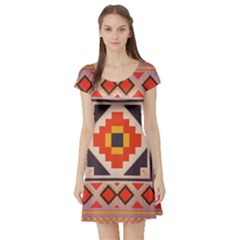 Rustic abstract design Short Sleeve Skater Dress