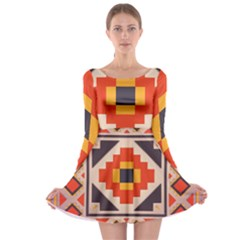 Rustic abstract design Long Sleeve Skater Dress