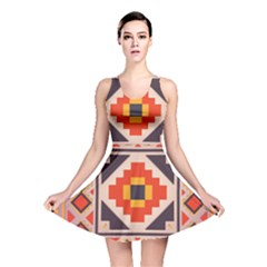 Rustic Abstract Design Reversible Skater Dress