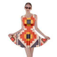 Rustic Abstract Design Skater Dress
