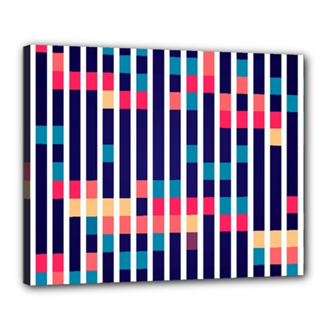 Stripes And Rectangles Pattern Canvas 20  X 16  (stretched)