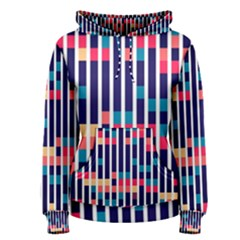 Stripes and rectangles pattern Women s Pullover Hoodie