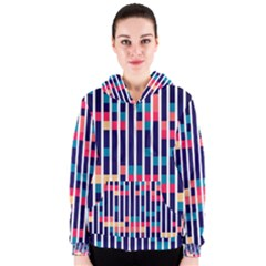 Stripes And Rectangles Pattern Women s Zipper Hoodie