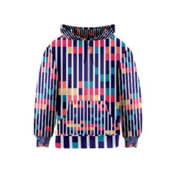 Stripes and rectangles pattern Kids Zipper Hoodie