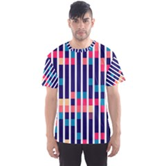 Stripes and rectangles pattern Men s Sport Mesh Tee